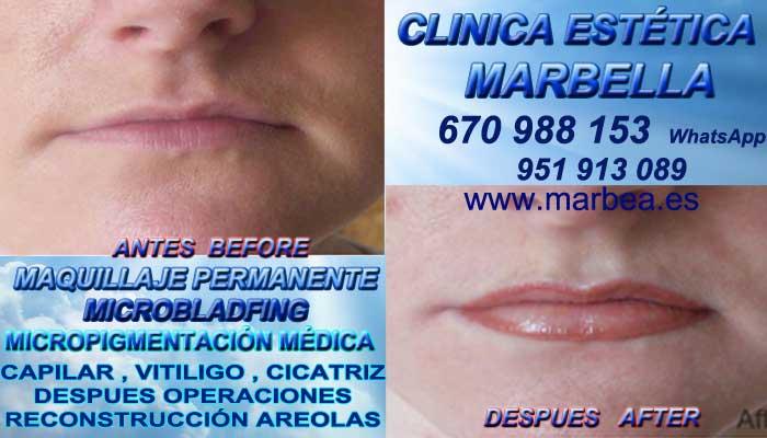 Microblading labios Málaga CLINICA ESTÉTICA ofrenda Dermopigmentacion labios 3D Marbella y en Málaga